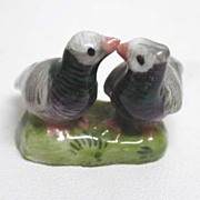 Rare, 19th c. Miniature Meissen Lovebird Group