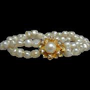 Lovely Vintage 2-strand Salt Sea Pearl and Vermeil Bracelet