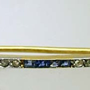 Exquisite mid-19th c. French Diamond Sapphire Pin
