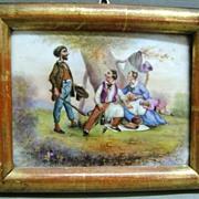 18th c. French Porcelain Painted Scene in Lemon Gilt Wood Frame