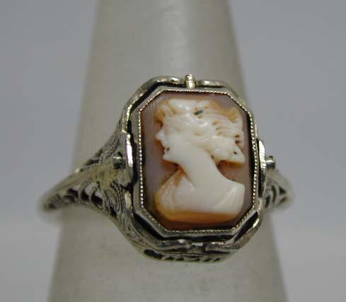 Art Deco 14K White Gold Cameo Filigree Swivel Ring
