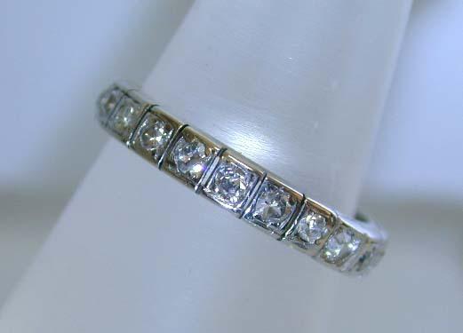 Art Deco Era 18K White Gold 1 ct. Diamond Eternity Wedding Band Ring