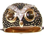 Estate 14K Gold Enamel Diamonds Cat's Eyes Figural Owl Ring