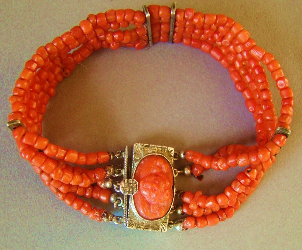 Antique Georgian Mediterranean Red Coral with Carved Cherub Cameo Silver Clasp
