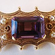 Victorian Etruscan 14k Gold Amethyst Seed Pearls Brooch Pendant