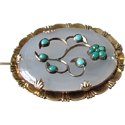 Antique 14k Gold White Agate Turquoise Mughal Style Brooch