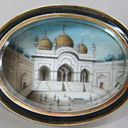 Antique 14k Gold Enamel Hand Painted Miniature Mughal Brooch