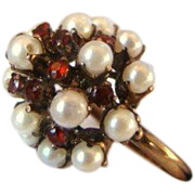 Antique 14k Gold Garnets Pearls Cocktail Ring