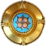 Antique 14K Gold Coral Cabochons Diamonds and Enamel Brooch