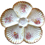 Stunning Antique English Oyster Plate with Dolphins & Seaweed