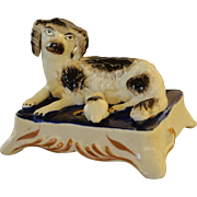 Antique Staffordshire Spaniel Dog With Pup