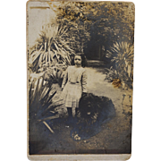 Antique Cabinet Photograph ~ French Girl With Her Large Dog