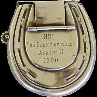 SALE Antique Horse Racing Commemorative Vesta Case ~ 1900 Grand National Winner Prince of Wales Ambush II