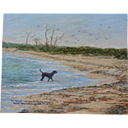 SALE Labrador Oil Painting ~ Captain's Dog Yankee Freedom