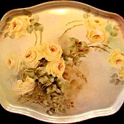Antique Limoges Porcelain Dresser Perfume Tray Hand Painted Roses Floral Yellow Flowers Artist Signed Dated