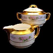 Antique KPM German Porcelain Creamer & Sugar Bowl Hand Painted Pink Flowers Floral Artist Signed