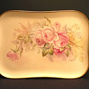 Antique Limoges Porcelain Dresser Perfume Tray Hand Painted Pink Roses Artist Signed