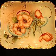Antique Haviland Limoges Porcelain Tray Hand Painted Poppies Floral Orange Flowers