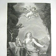 Henri Laurent French Engraving Mary Magdalen 1818 from Le Muse Royal
