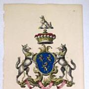 Edmondson Folio Heraldry Engraving Richard Fienes 1700's Coat Of Arms 18th C