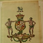 Edmondson Coat of Arms Engraving Bruce dates to 1764