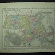 Lot of 3 DESILVER MAPS Illinois Indiana MASS & Rhode Island Dated 1856