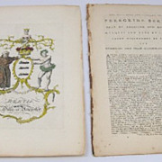 Jacobs English Rare Coat of Arms 1700's Bertie Ancaster Copperplate Engraving