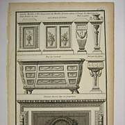 Neufforge Copperplate Engraving Fireplace Commode 1767