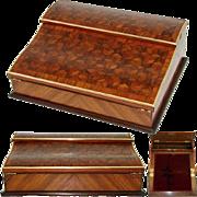 """Antique Napoleon III Marquetry Inlay 13"""" Ecritoire, Writer's Box"""