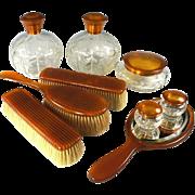 Antique 9 Pc. Vanity Set, Blond Faux Tortoise Shell - 5 Jars, Cologne, Brushes & Mirror - Tortoiseshell