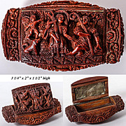 C. 1800 Hand Carved Corozo or Coquilla Nut Snuff or Patch Box, Angel, Dog, 2 Shepherds - WOW!