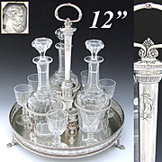 """RARE Antique French Sterling Silver 12"""" Cabaret or Liquor Tantalus, Butterfly +"""
