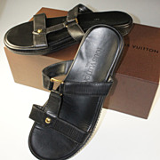 Lightly Used Louis Vuitton Black Epi Leather Sandals, Size 39, 8.5 Flats