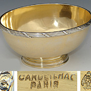 """Antique French Vermeil 18k Gold on Sterling Silver 4.5"""" Bonbon or Caviar Dish, Cardeilhac"""