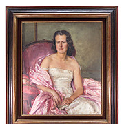 "Beautiful c1940-50 French Oil Painting Portrait of a Pink Lady, Fine Frame, 37.25"" x 33"""