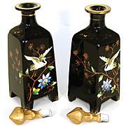 "LG Antique Bohemian Harrach Black Opaline 8.5"" Decanter or Perfume PAIR, Chinoiserie Style"