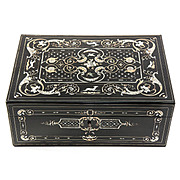"Antique Vervelle 14.5"" Sewing or Table, Jewelry Box, STUNNING Inlays, Animals, Dog, Birds, etc. c. 1850"