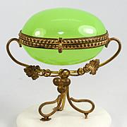Antique French Opaline Glass Egg Casket, Alabaster Plinth & Ormolu, Napoleon III Era