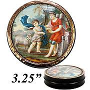 Antique French Snuff Box, Portrait Miniature Mount in 18k Gold, c.1780-1830. Children & Lamb