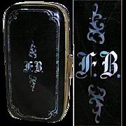 Fab Antique Victorian Papier Mache Cigar Case, MOP Inlay & Monogram