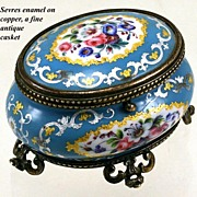 Antique French Sevres Enamel Jewelry Box, Casket, Ormolu - Gilt Bronze Frame, Acanthus Cabriole Legs