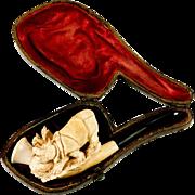 RARE Antique Figural Meerschaum Pipe, Case, A Rhino