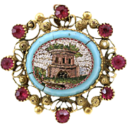 Antique Victorian Era Micro Mosaic 18K Gold Ruby Brooch