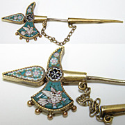 Antique Micro Mosaic Sweater Pin, Brooch Sword with Dove