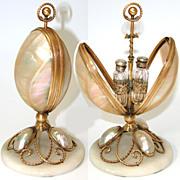 "Antique French Palais Royal 7"" Pearl Egg, Scent Casket"