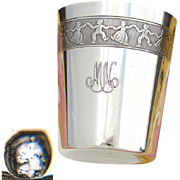 Fine Vintage French .800 Silver Wine Cup, Tumbler or Timbale: Children at Play