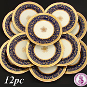 "Rare 12pc Antique 1892 Minton 9 3/4"" Dinner Plate Set, Raised 18k Gold Enamel on Cobalt Blue"