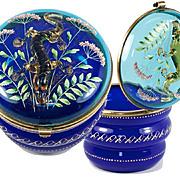"RARE Antique MOSER 5"" Bonbon or Powder Jar with Glass Salamander"