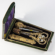 Antique French Sewing Etui, Tools, Sterling Silver Vermeil, (18k Gold) Palais Royal
