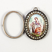 Antique French Locket, Kiln-fired Enamel Portrait Miniature, Seed Pearl Pendant in Silver and 18k Gold